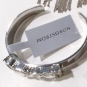 Nordstrom Silver Baguette Cuff Bracelet New with t